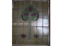 """Large old stained glass panel for renovation usage 31""""X25"""""""