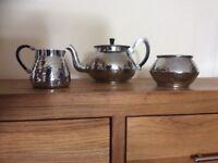 Vintage hammered teapot,sugar bowl and milk jug by n,c,j