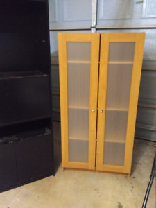 4ft light wood cabinet with frosted inserts doors storage