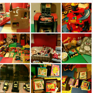Toy and book sales, 0-6 year-old, used sports equipment etc