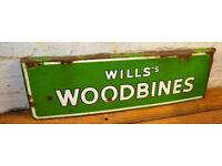 Wills Woodbine enamel sign early advertising mancave garage metal vintage retro kitchen antique