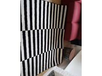 Large modern black and white rug