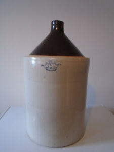 STONEWARE BROWN JUG 5 GALLON ROBINSON RANSBOTTOM CROWN LOGO