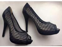 Black peep toe court shoes