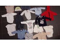 Baby starter pack Bundle job lot of 45 items age 0-6 months for boy clean excellent condit.