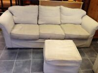 Large oatmeal colour sofa bed , chair and footstool in vgc all washable covers arm rest cover set ,