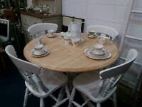 STUNNING ROUND PEDESTAL KITCHEN TABLE AND 4 BEECH CHAIRS F & B JAMES WHITE