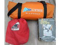 Aztec Rapido Lightweight Backpacker Tent, Coleman lightweight stove and cooking/eating set