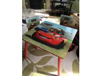 EXCELLENT CONDITION!!CARS CHILDREN TABLE WITH 2 CHAIRS
