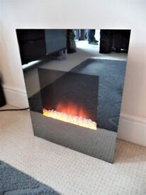 Wall Mounted STUNNING Electric Fireplace Mirror Glass Heater Fire Pebbles Flames BRAND NEW IN BOX