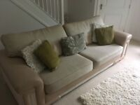 4 seater sofa in excellent condition for sale, cream leather and fabric.