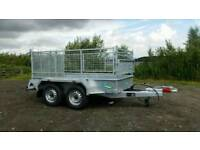new 10 X 5 twin axle trailer stamped high mesh sides removable