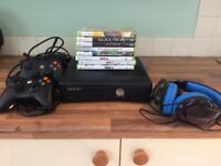 Xbox 360 Slim 4gb, includes all power leads, games, 2 wired controllers and headphones