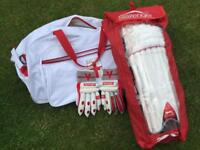Cricket pads gloves and bag