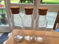 3 glass decanters