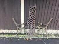 cast iron garden bench with cast iron lattice design backplate £25