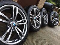 """Genuine Bmw 3 4 Series 18"""" 421 M Sport Alloy Wheels & Tyres F30 F31 F32 F33 F34 F36 E90 E46 Z4 E92"""