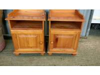 Two Pine Bedside Cupboards
