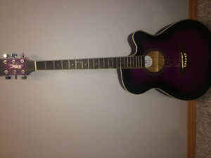 Purple beginner acoustic guitar