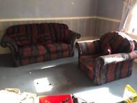 """2 seater sofa. 6'6"""" wide X 3' deep / armchair to match 3' wide"""