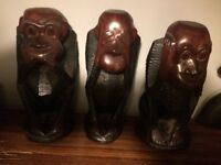 Three wise monkeys hand carved solid mahogany