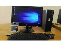 New Lenovo Business PC Desktop Tower & LG 19 Widescreen LCD Windows 10