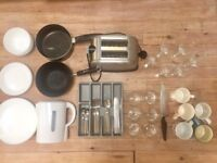 Kitchen set - glasses, plates, bowls, toaster, kettle, cutlery, mugs, pans