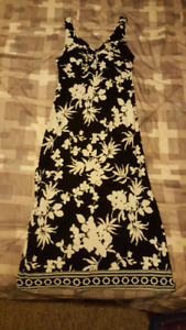 Black and white dress.  Think it's small.