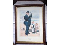 "FRAMED CARTOON PRINT AFTER LAWSON WOOD - ""A GREAT CATCH"""