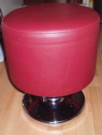 2 stylish Pedestal Chrome Red stools. Diner catering salon bar bolt down base.