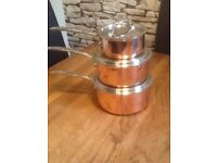 Copper and stainless steel pans