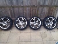 18 inch Ace 5x114.3 BLACK 5 stud Honda alloy wheels with tyres