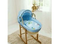 Kinder valley blue come fly with me moses basket. With ROCKING stand. Brand new 5 left.