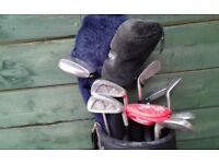 Complete Set Of 14 Golf Clubs including Woods, Irons,Hybrids,Chipper, Putter,Cart Bag,Balls,Tees etc