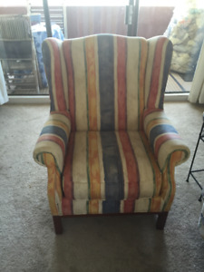 Elegant, multi-striped water colour Wing Chair