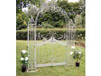 garden furniture - Ascolan Garden Arch with Gates Antique Blue