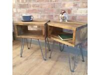Rustic Industrial Reclaimed Style Vintage Retro Side Table / Bedside Cabinet Metal Hairpin Legs