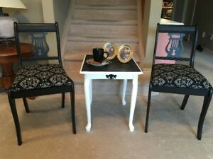 Four Harp Chairs & Table