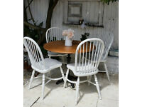 Beautiful Shabby Chic Style Round Dining Table Iron Legs & 4 Chairs ,We Deliver!