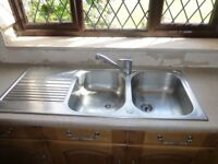 Blanco stainless steel double bowl excellent condition tap included plus worktops various sizes