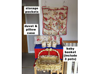 Baby items (basket, pots, wall storage pockets, duvet & pillow case)