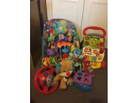Fisher Price Rocker Chair, Vtech baby walker and toy bundle