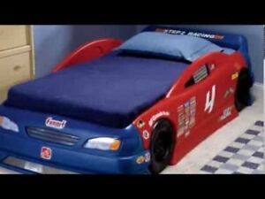 Step 2 race car bed, mattress,  toy chest and clothing chest