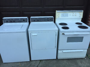 Washer, Dryer, and Stove for Sale