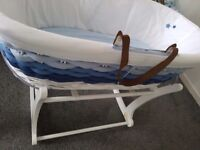Moses basket & white rocking stand