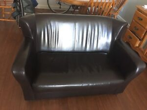 Firm Pleather Loveseat