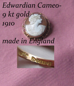 Antique Gold Broche Cameo from England