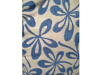 Curtains blue and beige pattern with triple pleat top. Good quality fabric. 61 inches x 105 inches