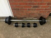 SOLID BARBELL AND SET OF SOLID BAR DUMBELLS WITH 80KG OF YORK CAST IRON WEIGHT PLATES