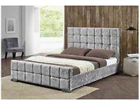New grey velvet bed crushed velvet bed with diamonds velvet studded bed